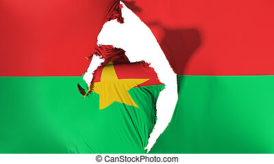 Damaged Burkina Faso flag, white background, 3d rendering