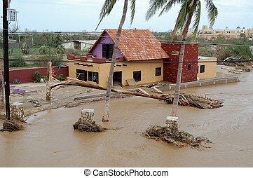 Damaged by hurricane house