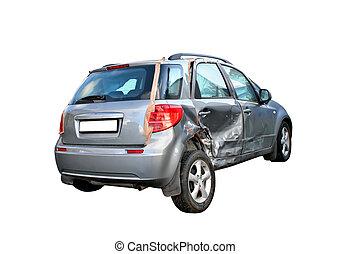 A grey damaged car isolated on white