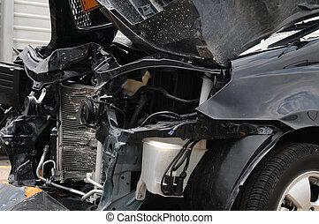 Damaged car.