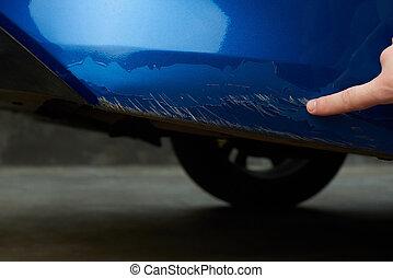 New car with damage paint on bumper  big car paint scratch