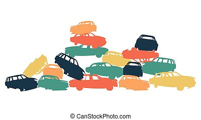 Damaged car pile in wrecking yard colorful vector background isolated