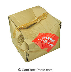 cardboard box which has been damaged in transit isolated with clipping path