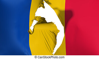 Damaged Chad flag, white background, 3d rendering
