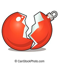Damaged Christmas toy in the form of a broken red glass ball isolated on white background. Vector cartoon close-up illustration.