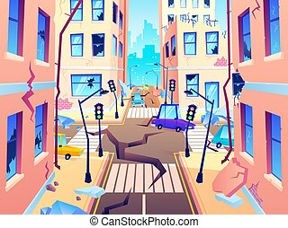 Damaged city street. Earthquake damage, cataclysm damages road destruction and destroyed urban crossroad cartoon vector illustration