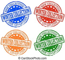 Damaged colorful stamps - winter co