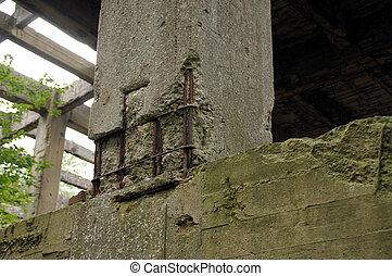 Damaged concrete construction