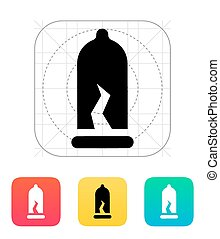 Damaged Condom icon. Vector illustration.