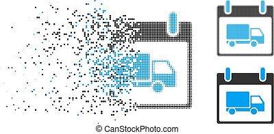 Damaged Dot Halftone Delivery Car Calendar Day Icon