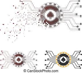 Damaged Dot Halftone Digital Casino Circuit Icon
