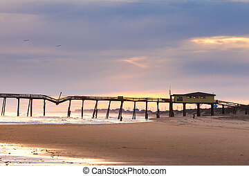 Damaged fishing pier on Hatteras Island OBX NC US - Storm...