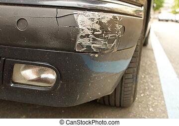 Damaged front bumper