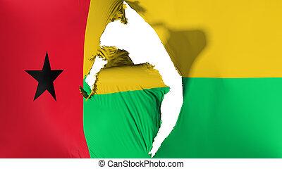 Damaged Guinea Bissau flag, white background, 3d rendering