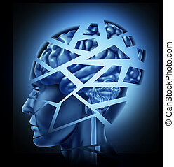 Damaged human brain injury and neurological disorder represented by a man's head and mind broken in pieces to symbolize a severe medical mental trauma and cognitive illness on black background.