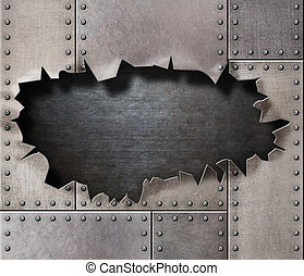 damaged metal armor with torn hole background - damaged...