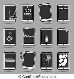 Damaged mobile phone set