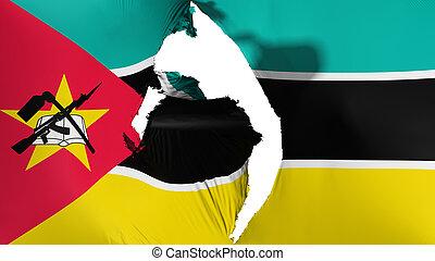 Damaged Mozambique flag, white background, 3d rendering