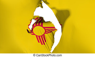 Damaged New Mexico state flag, white background, 3d rendering