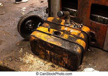 Damaged oil drums