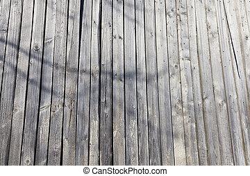 damaged old pine shed