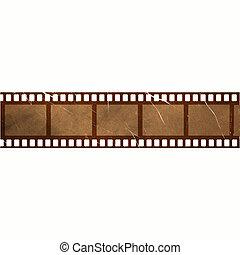 damaged old vintage film strip with grunge effect.