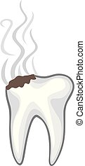 damaged or unhealthy human tooth with caries and bad smell