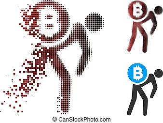 Damaged Pixel Halftone Bitcoin Courier Man Icon