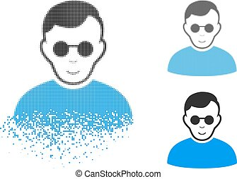 Damaged Pixel Halftone Blind Man Icon with Face - Blind man ...