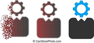 Damaged Pixel Halftone Bureaucrat Icon