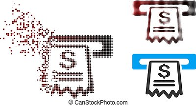 Damaged Pixel Halftone Cashier Receipt Icon