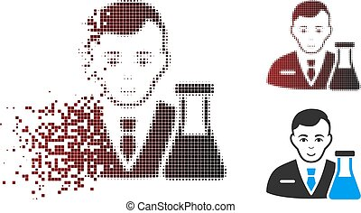 Damaged Pixel Halftone Chemistry Man Icon