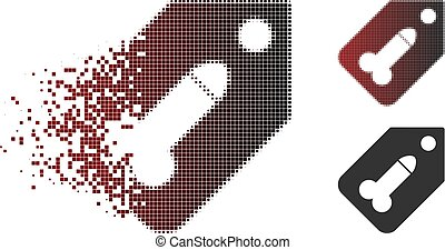 Damaged Pixel Halftone Dildo Tag Icon - Vector dildo tag...