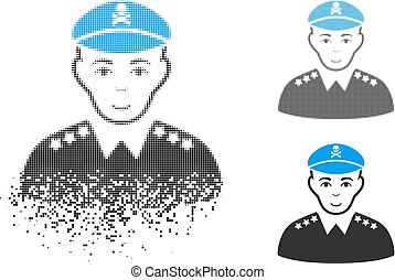 Damaged Pixel Halftone Evil Army General Icon with Face