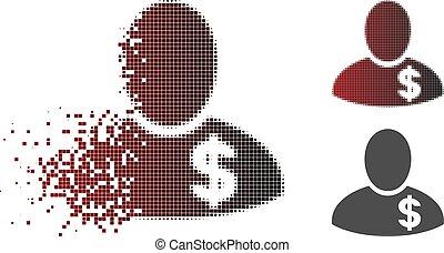 Damaged Pixel Halftone Financier Icon - Financier icon in...