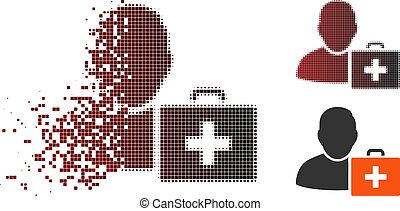 Damaged Pixel Halftone First Aid Man Icon
