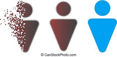 Damaged Pixel Halftone Man Icon