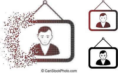 Damaged Pixel Halftone Man Portrait Icon