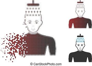 Damaged Pixel Halftone Man Shower Icon