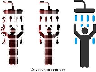 Damaged Pixel Halftone Man Under Shower Icon