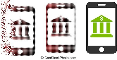 Damaged Pixel Halftone Mobile Bank Icon