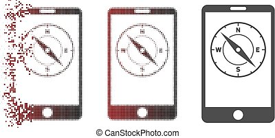 Damaged Pixel Halftone Mobile Compass Icon
