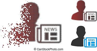 Damaged Pixel Halftone Newsmaker Newspaper Icon - Vector ...