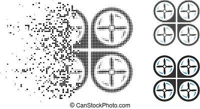 Damaged Pixel Halftone Quadrotor Screws Rotation Icon -...