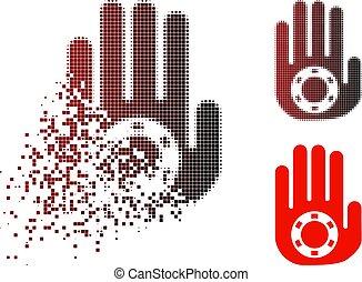 Damaged Pixel Halftone Stop Gambling Palm Icon