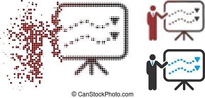 Damaged Pixel Halftone Trends Presentation Teacher Icon -...