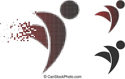 Damaged Pixel Halftone Winged Man Icon