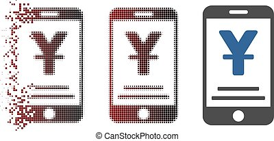 Damaged Pixel Halftone Yuan Mobile Payment Icon