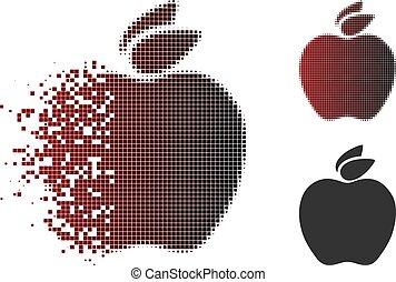 Damaged Pixelated Halftone Apple Icon