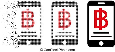 Damaged Pixelated Halftone Baht Mobile Payment Icon - Baht...